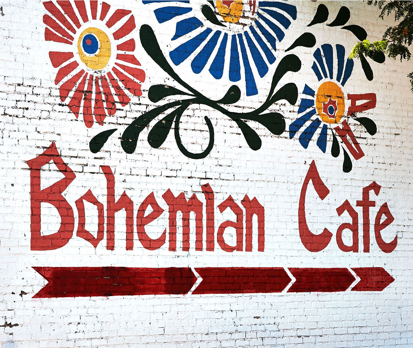 Bohemian Cafe Parking Wall Sign